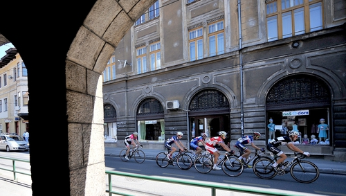 "Cyclists make their way through the streets of Sarajevo on the ""Race for Peace"""