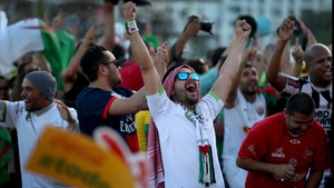 Algeria fans celebrated what looked to be a total rout heading into the half-time break
