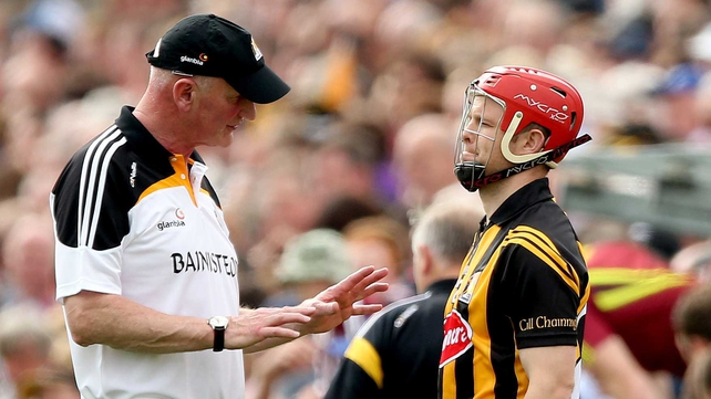 Kilkenny's manager Brian Cody speaks to Tommy Walsh, an influential sub for the Cats
