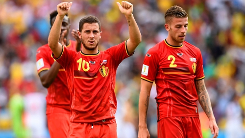 Eden Hazard celebrates in the Maracana