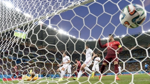 Portugal forward Nani cracked one past USA keeper Tim Howard at 5' while superstar Cristiano Ronaldo looked on