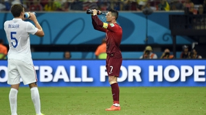 The second half began with Ronaldo working to keep hydrated and determined to make more of an impact than he did as a shadow in the first