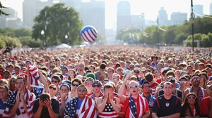 Tens of thousands of fans at Grant Park in Chicago watched on intently