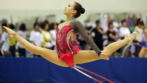 A South Korean rhythmic gymnast performs during a competition to select team members for the world championships
