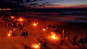 People celebrating St John's Eve at Zurriola beach in San Sebastian, Spain, in 2011