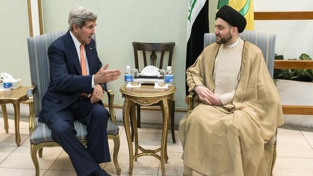 John Kerry meets Shiite Muslim leader Ammar al-Hakim, head of the Islamic Supreme Council of Iraq (ISCI) in Baghdad
