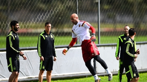 Pepe Reina heads a ball during a training session ahead of Spain's last chance to salvage some pride at this World Cup