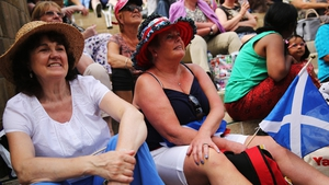 Andy Murray fans gather on 'Murray Mount' to watch his first round match against Belgium's David Goffin