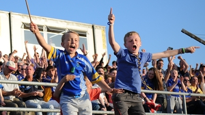 Young Wicklow fans cheer on their team to victory over Offaly in Aughrim