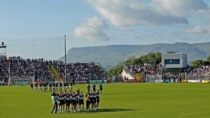 Galway and Sligo stand to attention for the national anthem before their Connacht semi-final clash in Markievicz Park