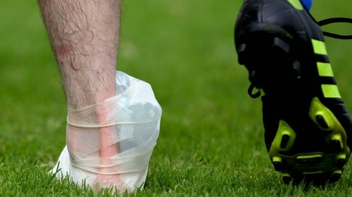 The Iceman cometh: A Clare player sports an ice pack on his ankle during their Munster semi-final loss to Kerry