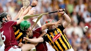Galway and Kilkenny players contest the ball during the Leinster SHC semi-final draw in Tullamore