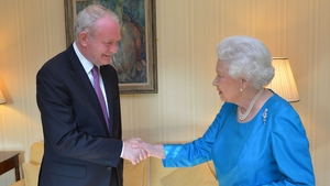 Queen Elizabeth II meets deputy First Minister Martin McGuinness in Hillsborough Castle, on a three-day visit to Northern Ireland