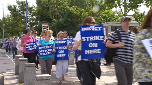 600 IMPACT members staged a one-day strike yesterday