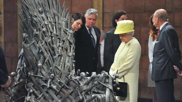 Queen Elizabeth was shown the Iron Throne on the set of Game of Thrones today