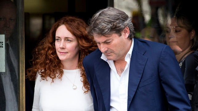 Rebekah and Charlie Brooks leaving court this morning