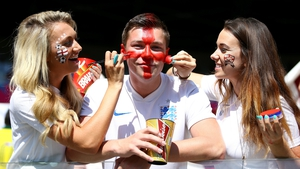 England fans enjoy the atmosphere prior to their team's game against Costa Rica