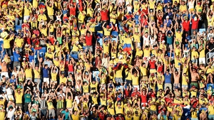 Colombian fans were a sea of colour during their game against Japan
