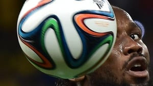In the Greece-Ivory Coast game, Didier Drogba kept his eye on the prize