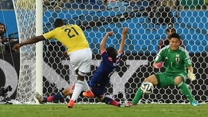 But Colombia fought back, and Jackson Martinez showed a cool head to score their second...