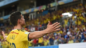 James Rodriguez, who had been instrumental in Colombia's earlier scores, got in on the act himself for their fourth