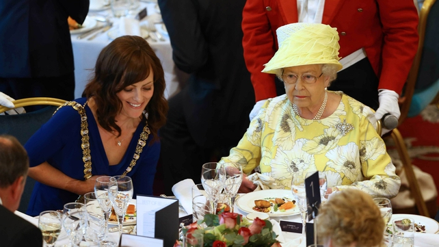 Queen Elizabeth attends a lunch with Belfast Lord Mayor Nicola Mallon