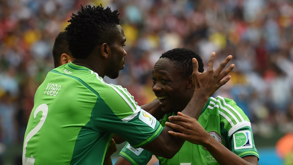 But Nigeria responded rapidly, Ahmed Musa (R) levelling matters before celebrating with Joseph Yobo