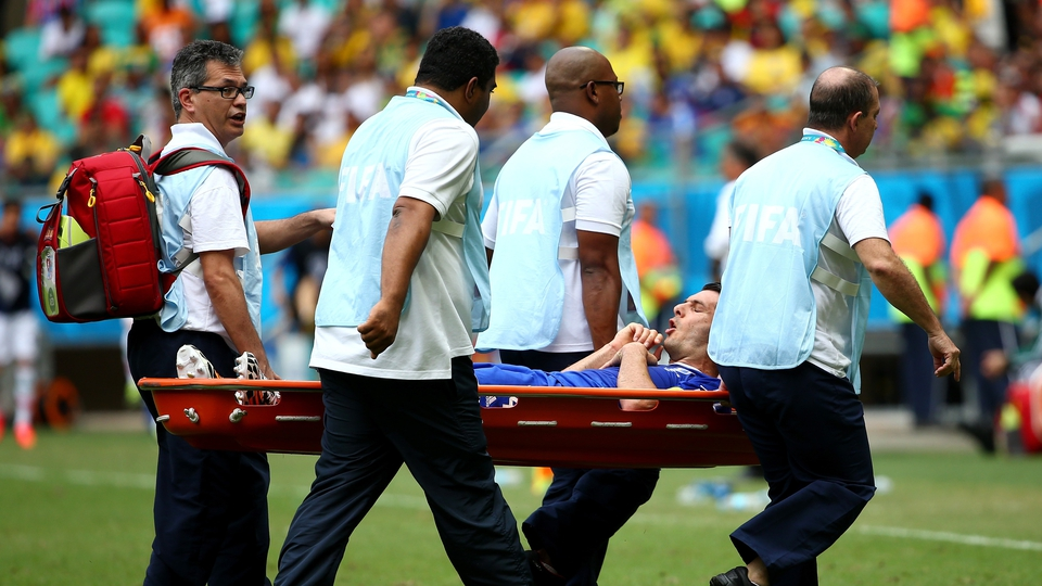 There were dramatic scenes when Emir Spahic departed on a stretcher