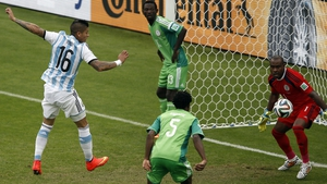 Rojo knew very little about Argentina's third goal - it bounced in off his knee...