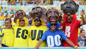 This nearly has to be fan picture of the day - Ecuador's fans going to serious effort for their side