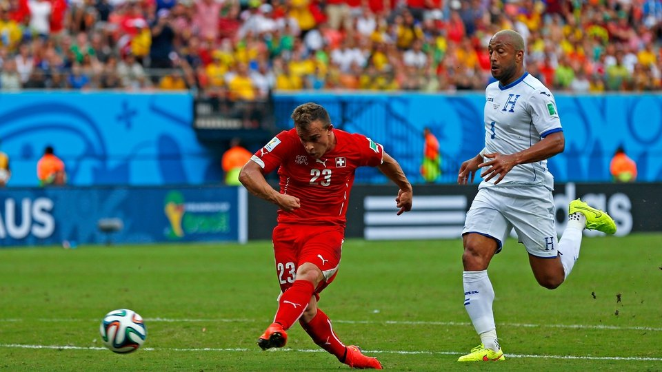 Xherdan Shaqiri was on fire for Switzerland, here scoring his second well-taken goal