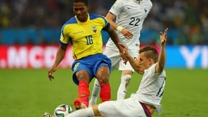 There was disaster for Ecuador early in the second half when Antonio Valencia was shown red for this tackle on Lucas Digne