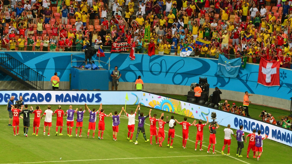 Switzerland's players, meanwhile, saluted their fans after they progressed to the final 16