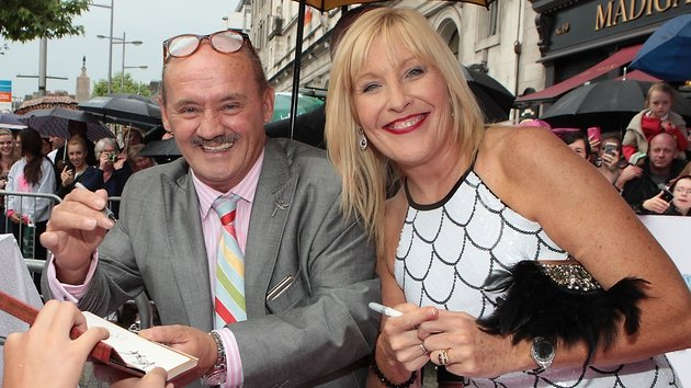 Brendan O'Carroll with his wife and co-star Jenny Gibney at the Dublin premiere of Mrs Brown's Boys D'Movie