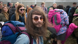 Bryan Patterson, 28, from Liverpool queues to get into Worthy Farm in Pilton, England for the first day of the 2014 Glastonbury Festival