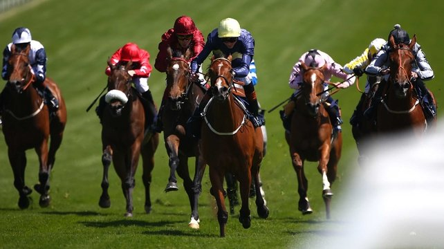Thistle Bird (yellow cap) won The Princess Elizabeth Stakes at Epsom