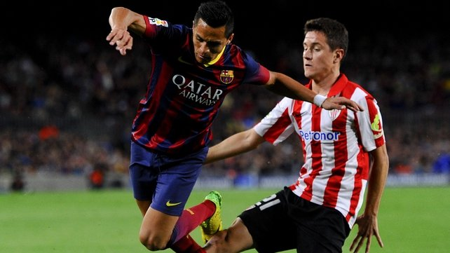 Herrera (r) in action for Athletic Bilbao
