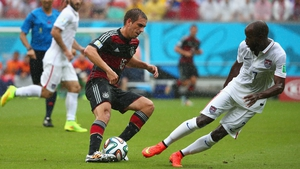 ... even as Germany midfielder and captain Phillipp Lahm continued to threaten DeMarcus Beasley and the entire USA defence
