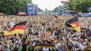 To start the second half, fans watching on in Berlin cheered for their side across the sea...