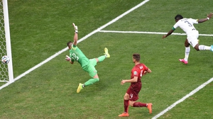 Early on, Ghana evened things up, with a slick header from forward Asamoah Gyan that got past Portugal keeper Beto