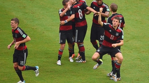 Mueller celebrated putting his side up 1-0 early in the second and scoring his fourth goal of the tournament