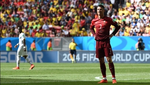 Ronaldo was clearly not pleased at the 57' minute knock that levelled the score