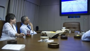 USA President Barack Obama watched on aboard Air Force One
