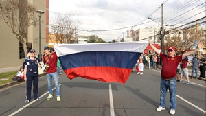 And the Russians brought a... flag. How original lads