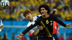 South Korea came out playing for their pride with intensity. Defender Kim Young-Gwon kept close to Belgium midfielder Marouane Fellaini