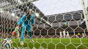 Algeria keeper Rais M'Bolhi dejectedly retrieved the ball from the back of the net