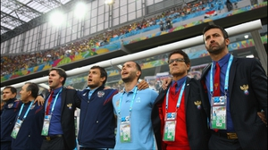 Russia coach Fabio Capello remained composed during his side's national anthem