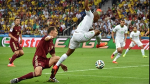 And midfielder Yacine Brahimi tried his best to ninja the ball through the Russia defence