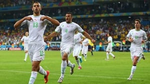 Slimani and his team-mates celebrated the score, which brought Algeria level at 1-1