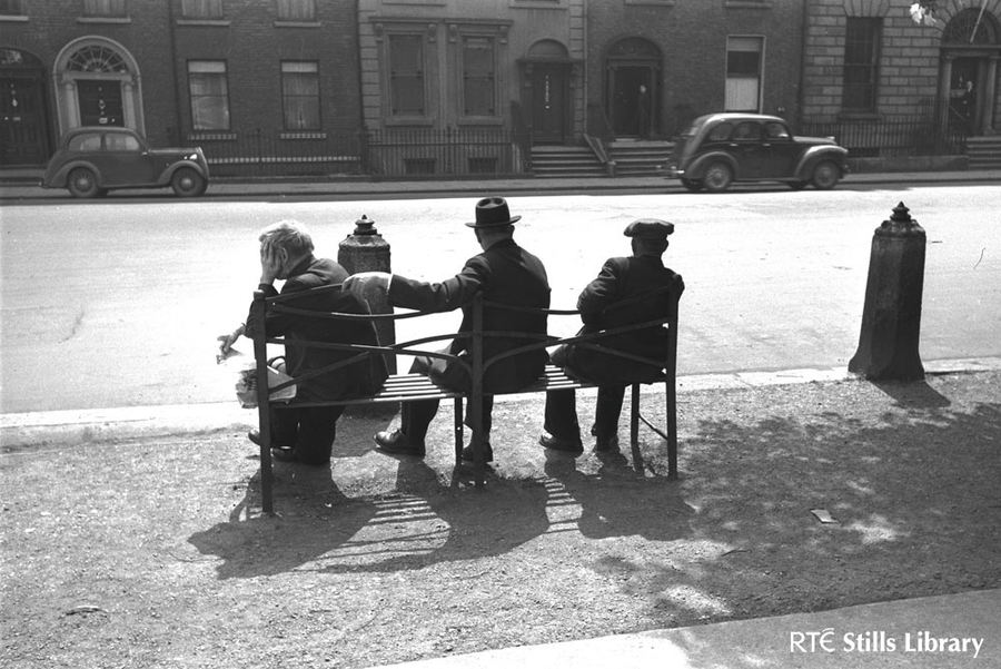 Three old men on a bench, St Stephen's Green, Dublin